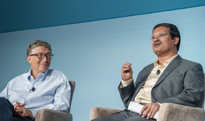 Addressing innovation with Bill Gates at the Grand Challenges Annual meeting 2014 at Seattle, USA.