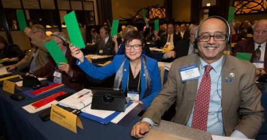 Council member Dominque Dubois holds up a green card to indicate support of a motion while Sandeep Nurang ponders his response during the 2016 Council on Legislation. Photo Credit: Monika Lozinska.
