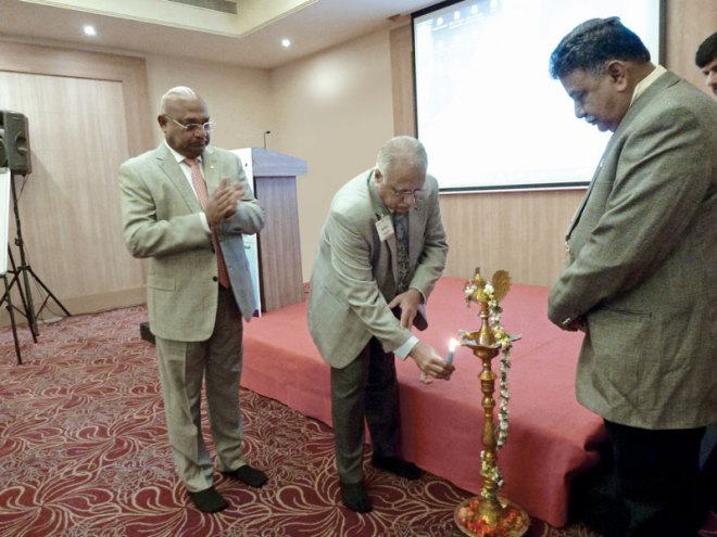 From left: RIDN C Basker, RID Manoj Desai and Chair of Lakshya and EMGA Ravi Vadlamani.