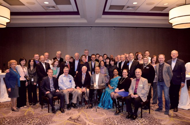 A group picture of the Rotary World Magazine Press Editors with RI President K R Ravindran, Chief Moderator and PRID John Blount (on his right) and RI Chief Communications Officer David Alexander (seated extreme left).