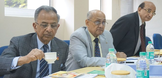PRIP Rajendra K Saboo, PRIP Kalyan Banerjee and PRID Ashok Mahajan at a Rotary News Trust meeting.