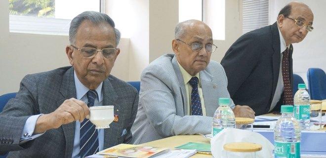 PRIP Rajendra K Saboo, PRIP Kalyan Banerjee and PRID Ashok Mahajan at a Rotary News Trust meeting.