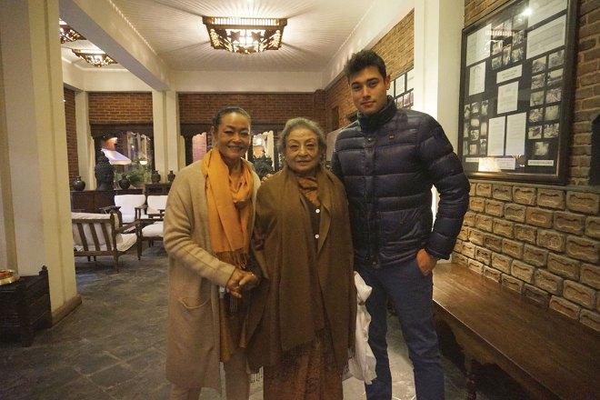 Ambika with daughter Sangita and grandson Vijay.