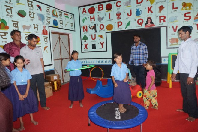 Newly done play room at a school. Palak, the hula-hoop champion, gave a stunning performance.