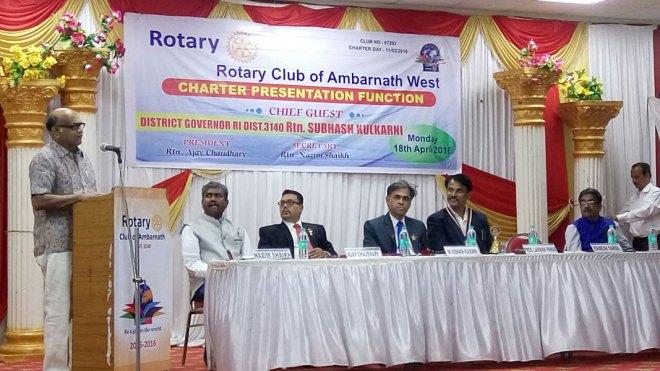 (From right) RC Ambarnath President Laxman Pawar and DG Subhash Kulkarni at the installation of RC Ambarnath West.