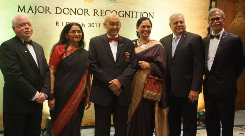 From left: TRF Trustee Sushil Gupta, Lalitha Subramanian, TRF Trustee Chair Kalyan Banerjee, Sharmishtha Desai, RID Manoj Desai and DG N Subramanian.