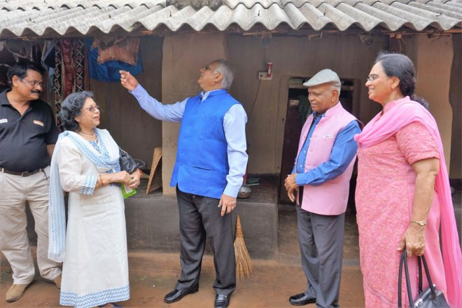 RID Manoj Desai inspects a home at Pitapali. Also present are Sharmishtha Desai, DG Narayan Nayak, Sunanda Nayak.