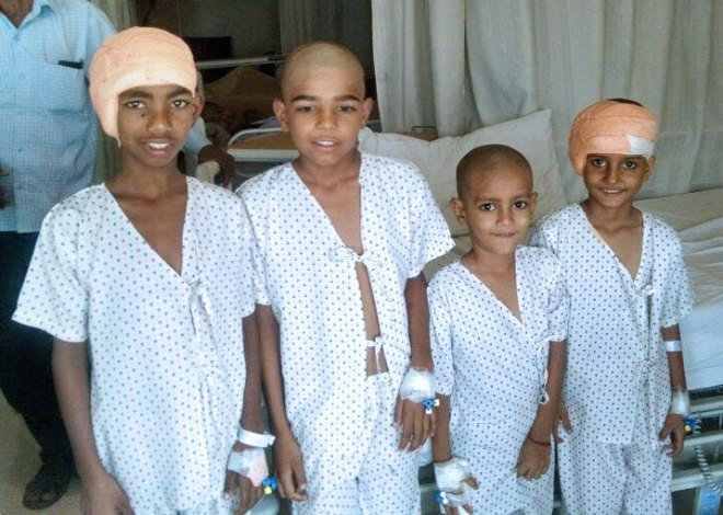 Children at the hospital after the cochlear implant surgery sponsored by RC Delhi Riverside.