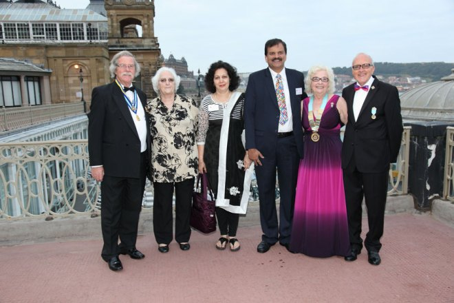 L to R: PDG Terry Sykes and Mrs. Sykes, Sonia and PDG Deepak Shikarpur, DG Wendy and Mr. Watson.
