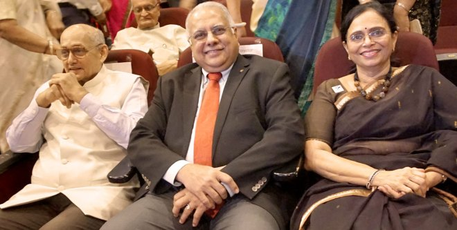From left: TRF Trustee Chair Kalyan Banerjee, RI Director Manoj Desai and Sharmishtha Desai.