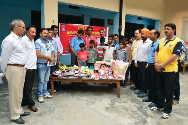 RC Saharanpur Continental RI District 3080 Grocery kits distributed to Bharathya Netraheen Vidyalaya, a school for the visually challenged.