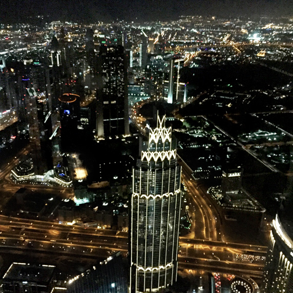 A bird's eye view of Dubai from the 123rd floor of Burj Khalifa.