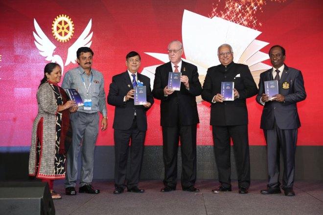 Institute Directory: (From R) Institute Chair Raja Seenivasan, RI Director Manoj Desai, RI President John Germ, PDG Ashok Kapadia, RNT Deputy Admin Manager K Vishwanathan and RNT Editor Rasheeda Bhagat.