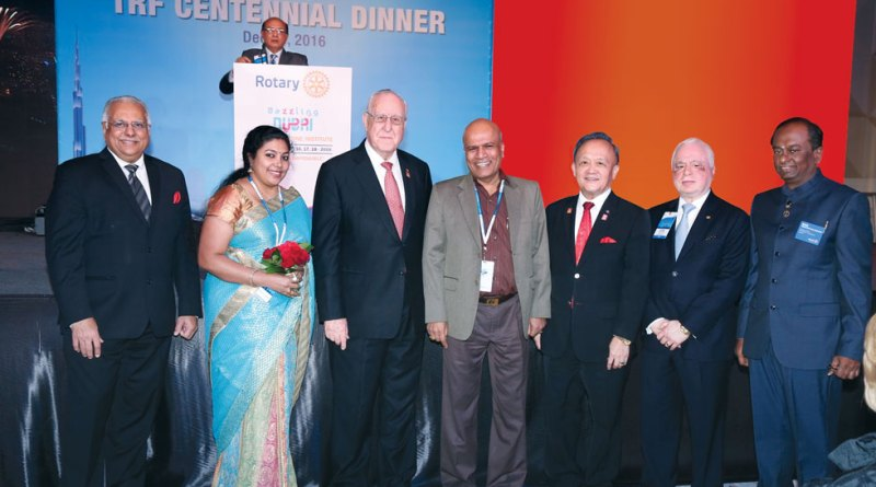 RID Manoj Desai, Sindhu Jayantha Kumar, RI President John Germ, Rtn Jayantha Kumar, PRIP Gary Huang, TRF Trustee Sushil Gupta and Institute Chair Raja Seenivasan.