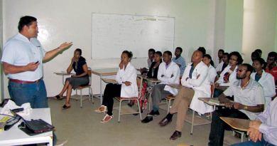 Dr Akshay Nair lecturing at Hawassa.