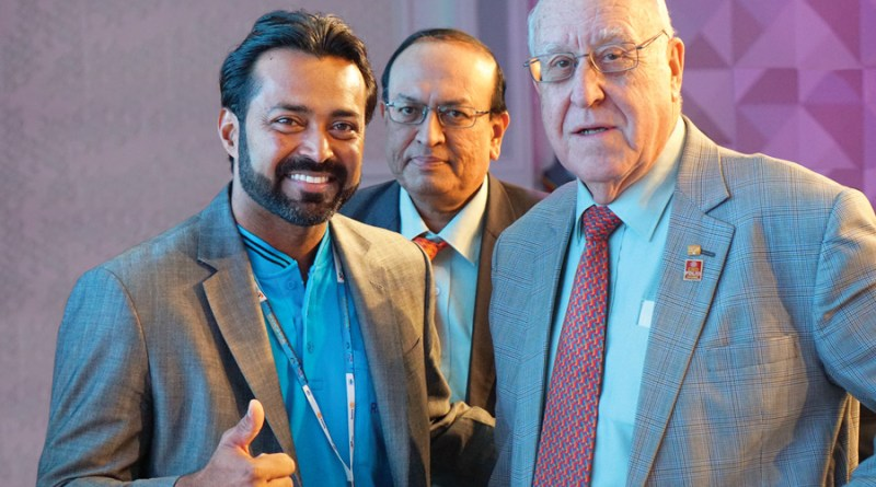 Tennis celebrity Leander Paes, PRID P T Prabhakar and  RI President John Germ.