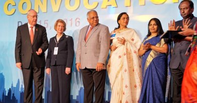 From left: RI President John Germ, Judy Germ, RID Manoj Desai, Sharmishtha, Jayanthi Seenivasan and Institute Chair V Raja Seenivasan.