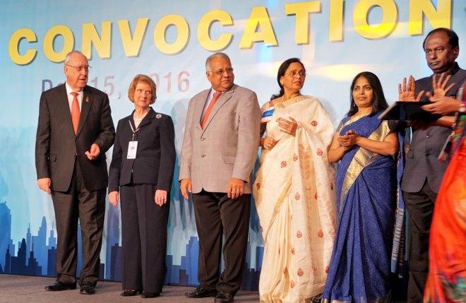 From left: RI President John Germ, Judy Germ, RID Manoj Desai, Sharmishtha, Jayanthi Seenivasan and Institute Chair V Raja Seenivasan.