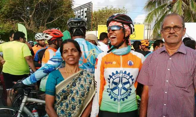 Porkodiyal Chidambaram, the only woman cyclist in the group, with her parents.