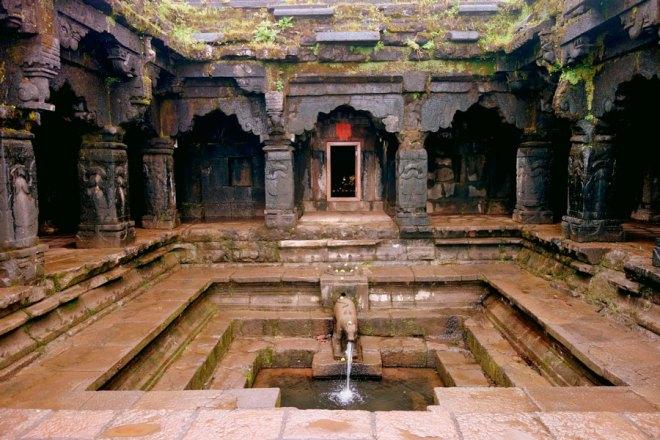 Inside the Panchganga Mandir.