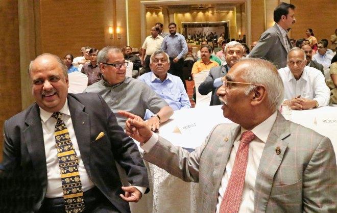 RILM Chair Shekhar Mehta with RSALS Chair J B Kamdar. Also seen: PDGs W Anand, Benjamin Cherian, Basu Dev Golyan, S Krishnaswami and DGN Babu Peram.