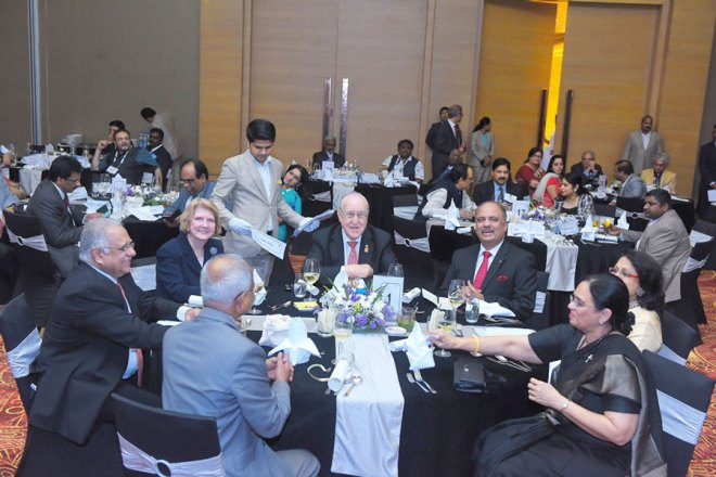 From left: RID Manoj Desai, Judy Germ, RI President John Germ, PRID Shekhar Mehta, Rashi Mehta and Sharmishtha Desai.