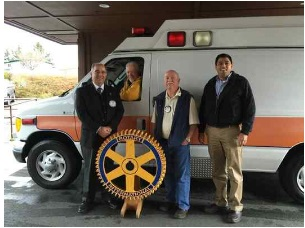An ambulance is donated to the Rotary Club of Southwest Eureka for the Mexico Ambulance Project. Pictured from left are Rotary Club of Southwest Eureka Rotarians Haider Ajina and Dan Brown, Project Coordinator Dean Charlton and City Ambulance of Eureka CEO Jaison Chand.