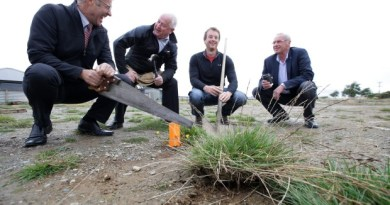 Work is set to begin on the charity auction house in Grasmere, Invercargill. Members of the Rotary clubs' organisation team, from left, Graeme Hegan, Dave McKissock, Richard Boyde-Manson, and Ross Wensley.
