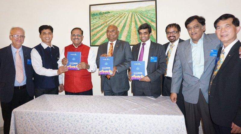 From L: EMGAs Ashok Panjwani and K P Nagesh, RC Ashok Gupta, RIDE C Basker, RC H Rajendra Rai, RPIC Rajadurai G Michael, RRFC Avinash R Potdar and RPIC Chairat Prasertlum (Zone 6B).