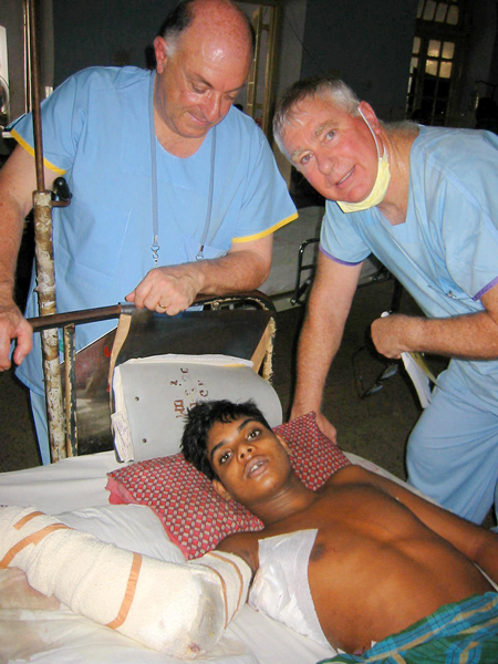 Visiting a medical project in Bangladesh in 2005.