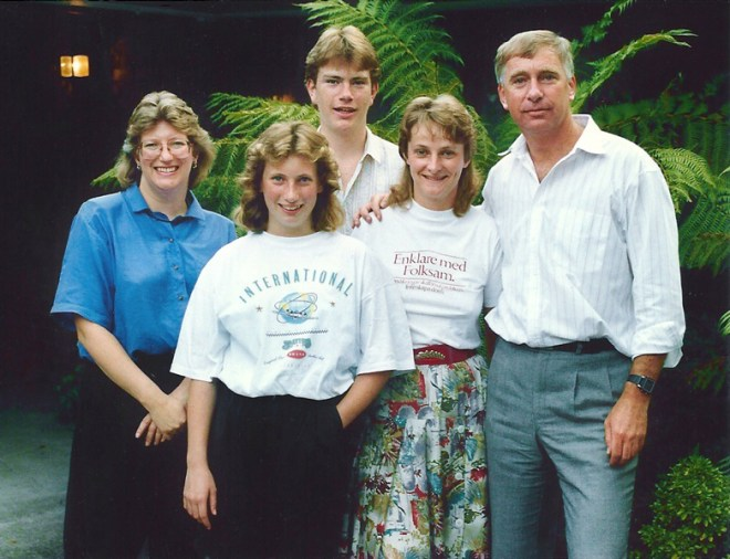 From left: Juliet, daughter Jill, son Andrew, GSE team member Gaby Gummesson from Sweden and RIPE Ian Riseley.