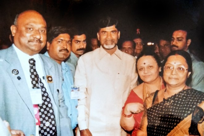Basker and Mala with the Andhra Pradesh Chief Minister N Chandrababu Naidu during the Rotary Institute, 2001, in Hyderabad.