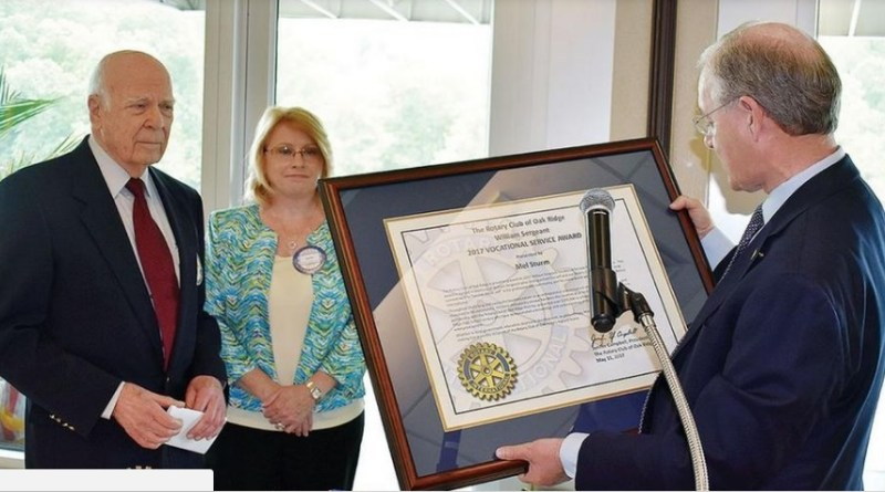 Recognised as a 'major influence' in Oak Ridge for many years, Mel Strum (left), the latest recipient of the William T Sergeant Vocational Service Award, is pictured with Jennifer Campbell, President of Rotary Club of Oak Ridge, and Darrell Akins, Past President and Chairman, Vocational Service Award Selection Committee. (Special photo to The Oak Ridger)