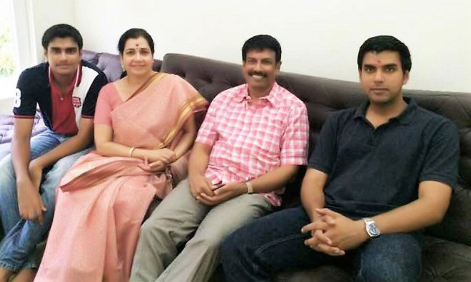 With sons Pravir and Kartikeyan and husband S Ramasundaram at home