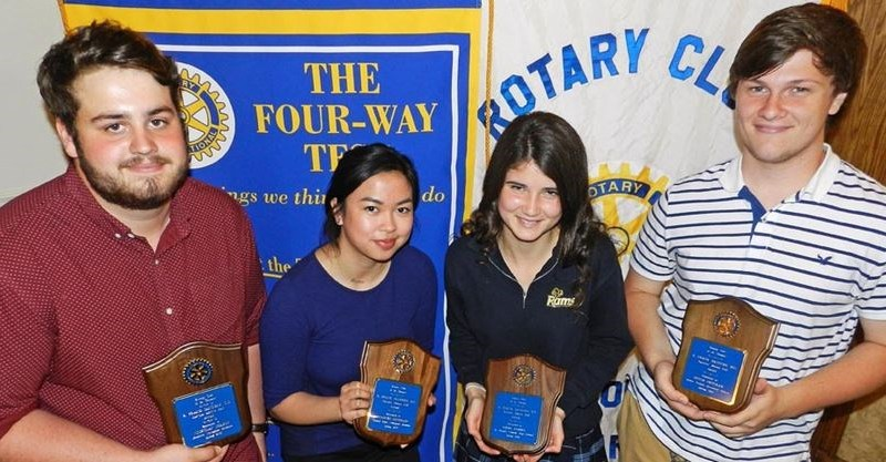 Rotary Club of St Thomas once again recognised four local high schoolers — (from left) Nicholas Chabot, Frances Santiago, Emma Kebbel and Devin Freeman — with the E Frank Sanders, QC Service Above Self Award. Photo: Sean Meyer