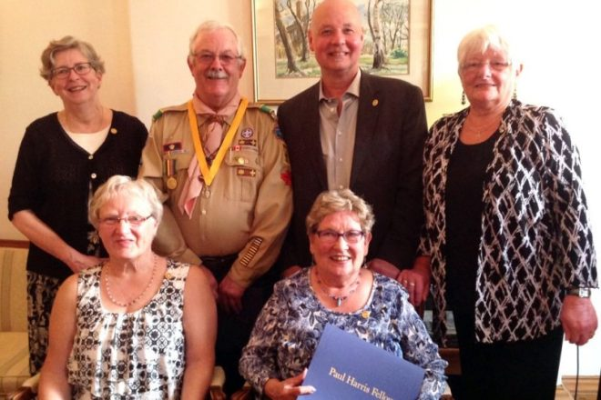 The Sackville Rotary Club presented six new Paul Harris Fellowships to (front row, left to right) Alice Folkins and Sharon Meldrum; (back row, left to right), Heather Patterson, Allan Pooley, John Higham and Dianne Minshull.