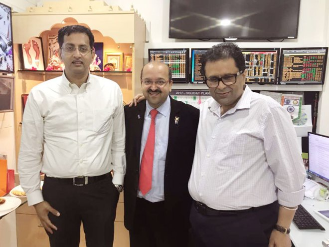 From L: Tata Trusts' Managing Trustee R Venkatraman, Nirav Shah and Manoj Murarkar.