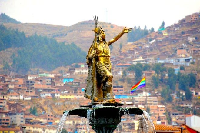 Statue of Inca in Cusco's Main Square.