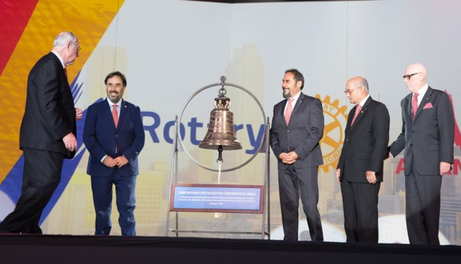 The Marinelli Brothers (Armando and Pasquale Marinelli) present the TRF Centennial Bell, handcrafted in Italy by the family, at the Convention in the presence of RI President John Germ, TRF Trustee Chair Kalyan Banerjee and 2017 Convention Committee Chair Barry Matheson.
