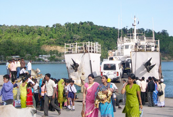 A ferry transporting people.
