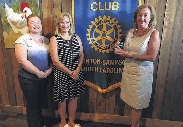 The Rotary Club of Clinton-Sampson County was awarded District 7730 Lighthouse Award for Excellence in Vocational Education. Pictured with the award are Amanda Bradshaw, president, Nancy Carr, assistant District Governor, and Donna Williams, past president.