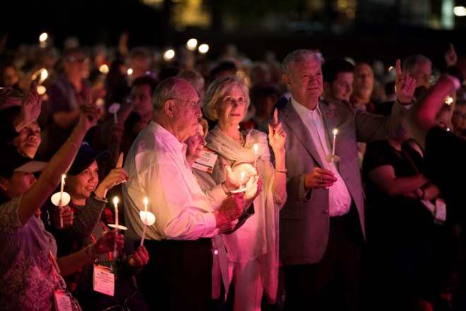 RI President John Germ and Judy with PRID Ronald Beaubien and spouse Vicki at the candle light vigil to end human trafficking