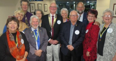 Narooma Rotary's new board consists of Laurelle Pacey, left, Ang Ulrichsen, Frank Eden, Assistant Governor and outgoing President Bob Antill, Lynne Hastings, President Bob Aston, Lynda Ord, Rod Walker, John Doyle, Sandra Doyle and Chris O'Brien.
