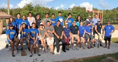 Saipan Rotarians planted trees at the Kagman Family Park.