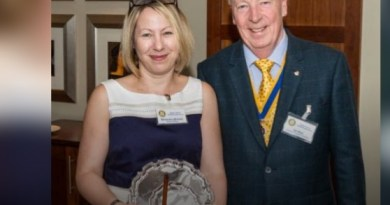 Award-winner Samantha Wheeler with Stratford Rotary Club President Ian Reid.