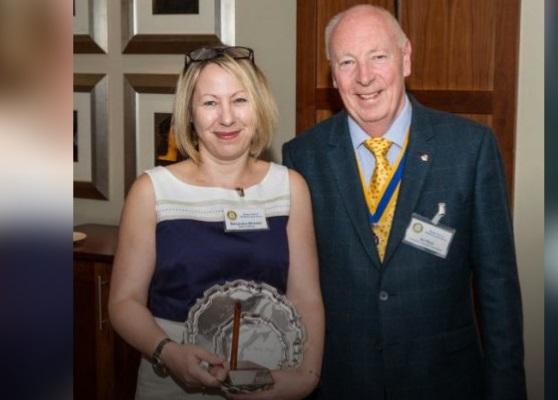 Award-winner Samantha Wheeler with Stratford Rotary Club President Ian Reid.