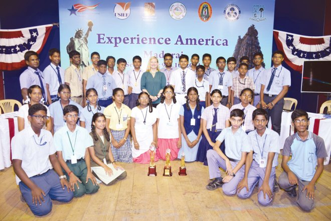 Andie De Arment, CAO - US Consulate with school students.