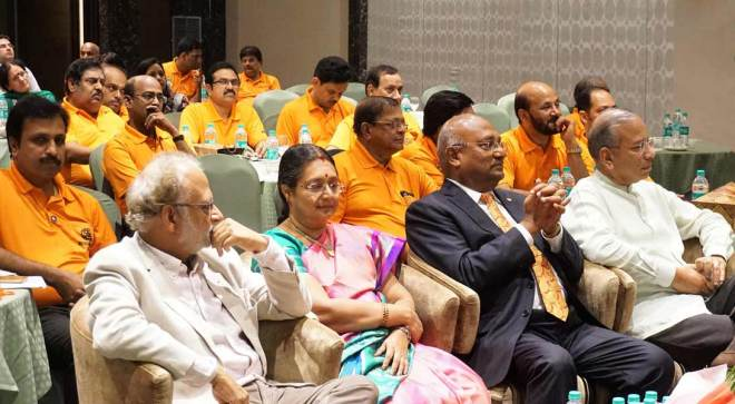 A section of the district leaders with (from R) PRIP K R Ravindran, RID C Basker, Mala Basker and PDG Sanjay Khanna.