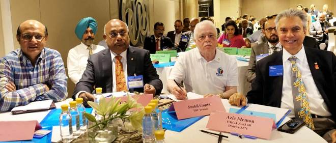 From L: RRFC Kamal Sanghvi, RID C Basker, TRF Trustee Sushil Gupta and Zone 3 & 6A EMGA Aziz Memon.
