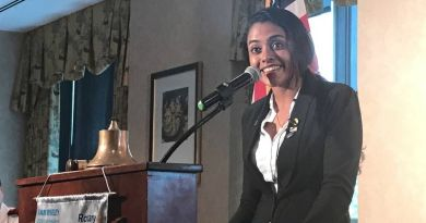 Tehara Dalpethado, a native of Sri Lanka, speaks at Rotary Club of Gwinnett County. An incoming student of Georgia Gwinnett College, Dalpethado is the recipient of a cultural scholarship from the club to attend the college. She plans to study finance and later on pursue MBA. Photo: Keith Farner